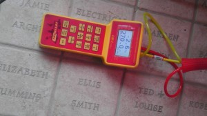 Close up photo of gauge being used in 2002 solar house.